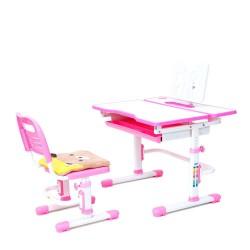 Комплект растущая парта и стул с чехлом Rifforma Comfort-07 (Белый, Розовый)