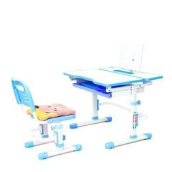 Комплект растущая парта и стул с чехлом Rifforma Comfort-07 (Белый, Голубой)