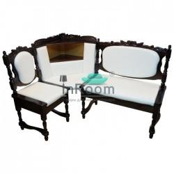 Угловой кухонный диван Картрайд с резьбой